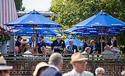 Henley on Thames, England, United Kingdom, 5th July 2019, Henley Royal Regatta,  Terrace Bar, decked out in sponsers, umbrellas' Leander Club,  Henley Reach, [© Peter SPURRIER/Intersport Image]<br /><br />10:29:21 1919 - 2019, Royal Henley Peace Regatta Centenary,