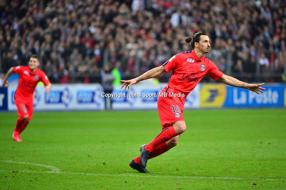 Joie Zlatan IBRAHIMOVIC - 11.04.2015 -  Bastia / PSG - Finale de la Coupe de Ligue 2015<br />