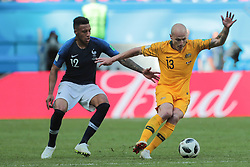 June 16, 2018 - Kazan, Kazan, France - midfielder Corentin Tolisso of France National team and midfielder Aaron Mooy of Australia National team during a  Group C 2018 FIFA World Cup soccer match between France and Australia on June 16, 2018, at the Kazan Arena in Kazan, Russia. (Credit Image: © Anatolij Medved/NurPhoto via ZUMA Press)