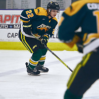 1st year defence man, Clayton Eisler (22) of the Regina Cougars during the Men's Hockey Home Game on Sat Oct 13 at Co-operators Center. Credit: Arthur Ward/Arthur Images