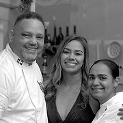 Arismedy Lopez and Angery Leonaldo, chefs and owners of La Cocina de Arismendy restaurant, sharing with chef Maria Marte, two start Michelin chef and head chef of Club Allard, in Spain. <br />