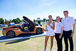 LIVERPOOL, ENGLAND - Sunday, June 24, 2018: Corinna Dentoni (ITA) with Nick Bannon-Thomas, Lydia Connell and  the BMW i8 Roadster during day four of the Williams BMW Liverpool International Tennis Tournament 2018 at Aigburth Cricket Club. (Pic by Paul Greenwood/Propaganda)
