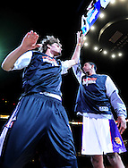 Feb. 17, 2011; Phoenix, AZ, USA; Phoenix Suns center Robin Lopez (left)  reacts on the court with teammate forward Channing Frye against the Dallas Mavericks at the US Airways Center. The Mavericks defeated the Suns 112-106. Mandatory Credit: Jennifer Stewart-US PRESSWIRE