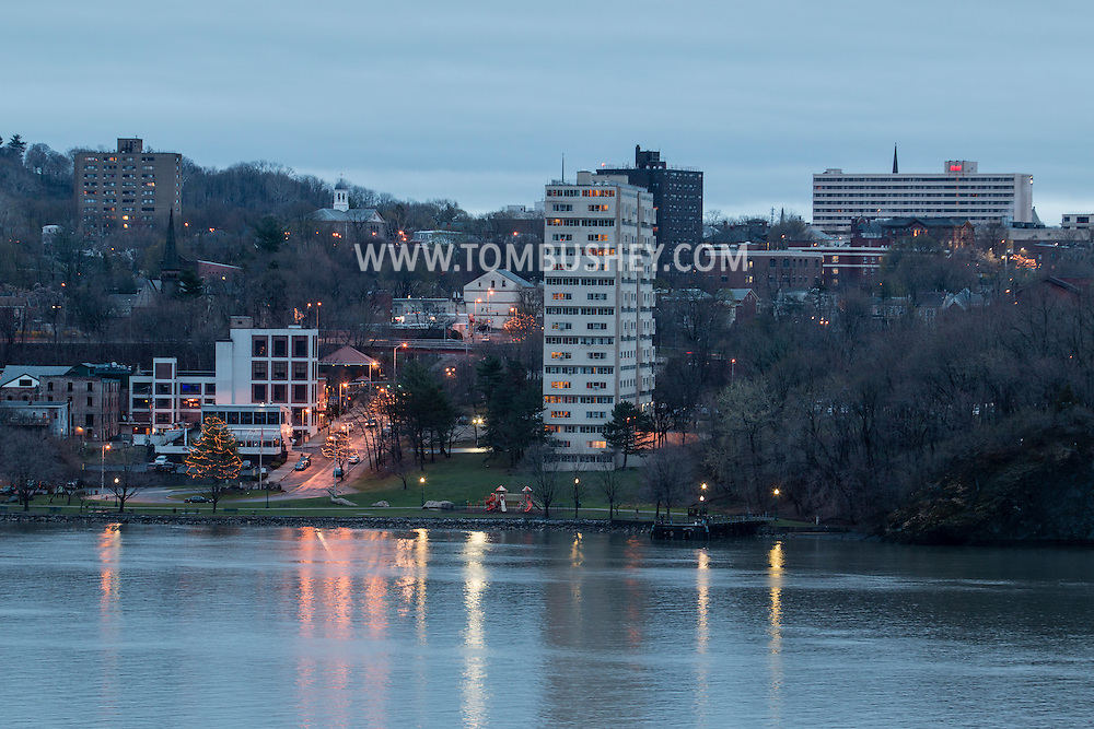 Highland, New York -  A view of the Hudson River and the Poughkeepsie watefront at twilight on April 18, 2015