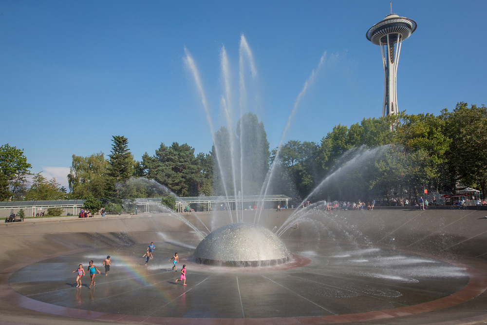 United States, Washington, Seattle, International Fountain and Space Needle at the Seattle Center.