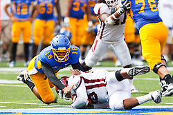 September 24, 2011; San Jose, CA, USA; New Mexico State Aggies defensive tackle David Mahoney (98) dives on a fumble in front of San Jose State Spartans quarterback Dasmen Stewart (18) during the second quarter at Spartan Stadium.