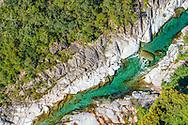 France, Languedoc Roussillon, Cévennes, Gard, le Gardon de Mialet, vue aérienne