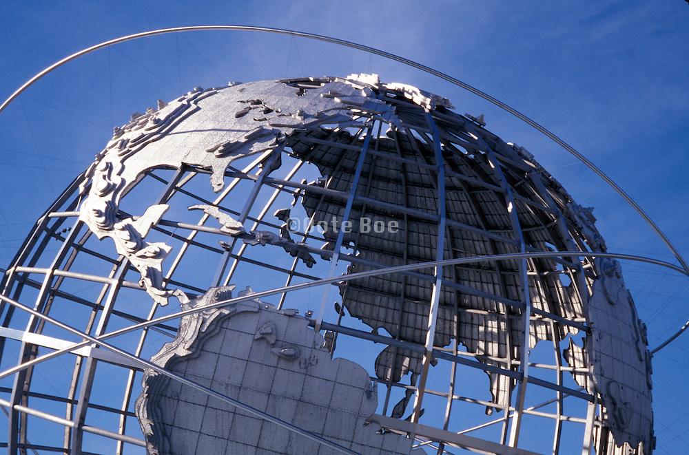 spherical metallic globe sculpture