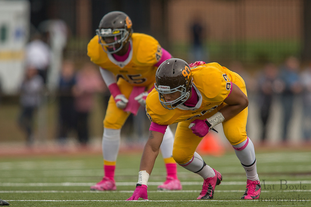 Rowan University Junior DL Josh Popper (93) -  Rowan University Football vs Wesley College at Richard Wacker Stadium in Glassboro, NJ on Saturday October 19, 2013. (photo / Mat Boyle)