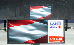24.02.2017, Lahti, FIN, FIS Weltmeisterschaften Ski Nordisch, Lahti 2017, Damen Skisprung, im Bild die Österreichische Nationalflagge auf Grossleinwand im Stadion mit dem Lahti 2017 Logo // The Austrian national flag on the big wall in the stadium with the Lahti 2017 logo during Ladies Skijumping Competition of FIS Nordic Ski World Championships 2017. Lahti, Finland on 2017/02/24. EXPA Pictures © 2017, PhotoCredit: EXPA/ JFK