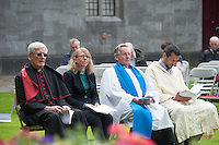 12/07/2015   repro free The National Day of Commmeoration Ceremony was held in NUI, Galway in honour of all those who irish mean and women who died in past wars or on service with the UN . The most reverend Dr. Martin Drennan, The revered Helen Freeburn, Mr Denzil Auchmuty and Mr. Sheikh Khalid<br /> Photo:Andrew Downes:XPOSURE