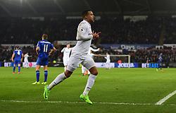 Martin Olsson of Swansea City celebrates. - Mandatory by-line: Alex James/JMP - 12/02/2017 - FOOTBALL - Liberty Stadium - Swansea, England - Swansea City v Leicester City - Premier League
