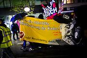 Frankfurt | 07 October 2016<br /> <br /> Am Freitag (07.10.2016) versammelten sich in Wetzlar etwa 80 Neonazis aus dem Umfeld der NPD, von neonazistischen Freien Kameradschaften, dem sog. Freien Netz Hessen und der Identit&auml;ren Bewegung zu einer Demonstration &quot;gegen &Uuml;berfremdung&quot;. Die geplante Demo-Route war von etwa 1600 Anti-Nazi-Aktivisten blockiert, daher wurde den Neonazis eine neue Demoroute durch Altstadt und Innenstadt von Wetzlar vorbei am Wetzlarer Dom zugewiesen. Auch hier stellten sich den Rechten immer wieder Aktivisten in den Weg.<br /> Hier: Neonazis f&uuml;hren bei ihrer Demo ein Transparent mit der Aufschrift &quot;Gegen die staatliche Sexualisierung der Kinder - Gender Mainstreaming abschaffen!&quot;<br /> <br /> photo &copy; peter-juelich.com<br /> <br /> FOTO HONORARPFLICHTIG, Sonderhonorar, bitte anfragen!