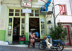Typical small cafe in town of Agiassos on Lesvos Island in Greece