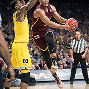 Loyola University Chicago senior Marques Townes drives the ball during the first round of the Final Four in the NCAA Tournament against the University of Michigan at the Alamodome in San Antonio, TX., on Saturday, March 31, 2018. (Photo: Lukas Keapproth)