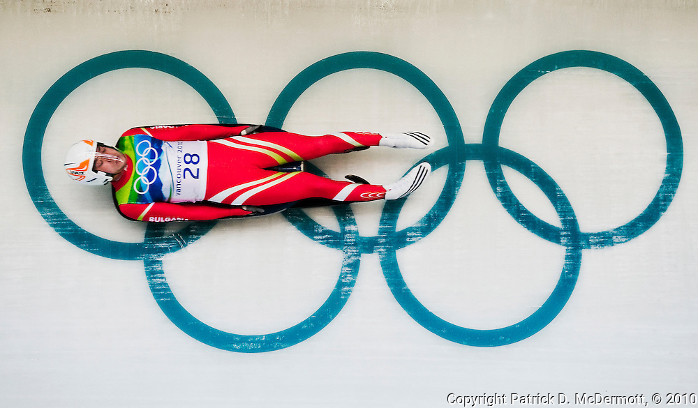 Ivan Papukchiev, BUL, competes in the Men's Single Luge competition during the 2010 Vancouver Winter Olympics at the Whistler Sliding Centre in Whistler, British Columbia, Sunday, Feb. 14, 2010.