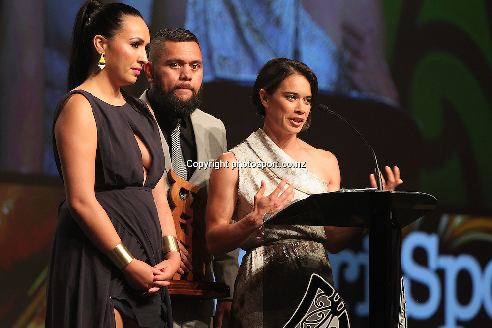 301113 2013  Sports reporters for Te Kaea on Maori television accept the award for best Moari sports media. from left Rahia Timutimu, Tamati Tiananga and RewaHarriman at the Trillian Trust Maori Sports Awards at Vodafone Events Centre, Manukau. Photo: Fiona Goodall/photosport.co.nz