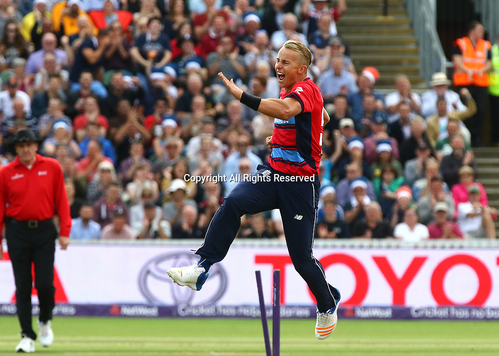 23rd June 2017, The Cooper Associates County Ground, Taunton, England; 2nd International Twenty20 Cricket Match, Tom Curran of England celebrates taking the wicket of Reeza Hendricks of South Africa