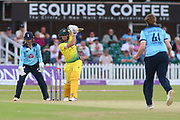 Ashleigh Gardner of Australia (63) bowled out by Anya Shrubsole of England (41) during the Royal London Women's One Day International match between England Women Cricket and Australia at the Fischer County Ground, Grace Road, Leicester, United Kingdom on 4 July 2019.