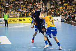 Luka Stepancic vs Kristjan Horzen during handball match between RK Celje Pivovarna Lasko (SLO) and Paris Saint-Germain HB (FRA) in VELUX EHF Champions League 2018/19, on February 24, 2019 in Arena Zlatorog, Celje, Slovenia. Photo by Peter Podobnik / Sportida