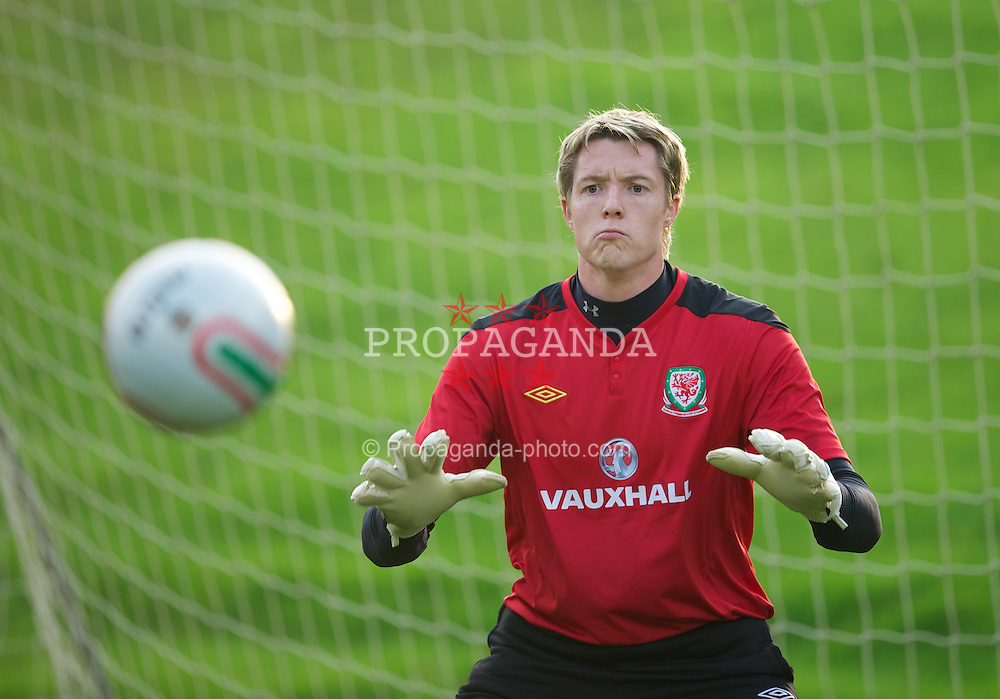 CARDIFF, WALES - Thursday, November 10, 2011: Wales' goalkeeper Wayne Hennessey during a training session at the Vale of Glamorgan Hotel ahead of the friendly match against Norway. (Pic by David Rawcliffe/Propaganda)