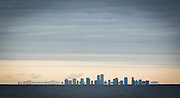 New Orleans skyline view from the Lake Pontchartrain Causeway