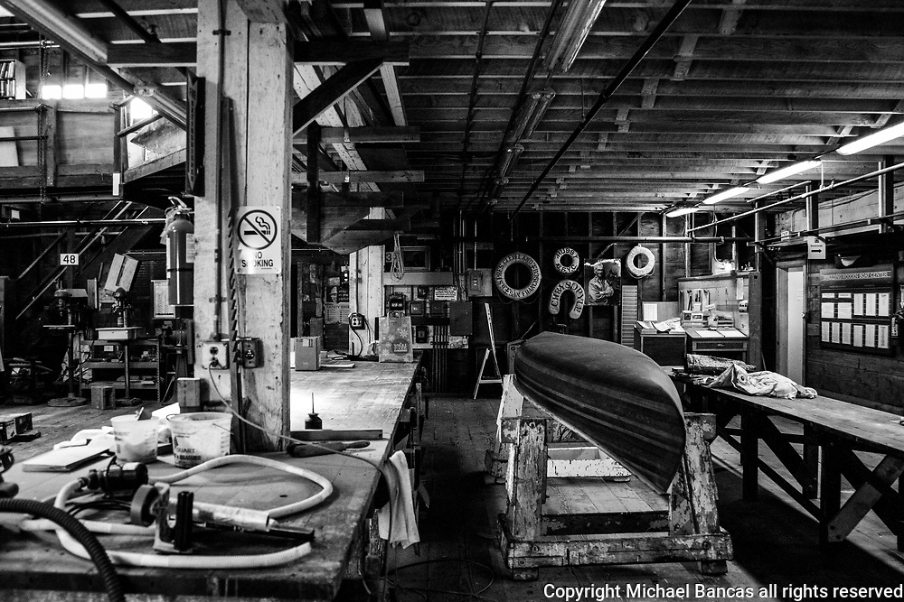 Inside view of the Spaulding Wooden Boat Center for teaching boat building