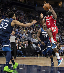April 23, 2018 - Minneapolis, MN, USA - Houston Rockets' James Harden (13) drives to the basket in the fourth quarter as they play the Minnesota Timberwolves in Game 4 of their series Monday, April 23, 2018 at the Target Center in Minneapolis, Minn. The Rockets won, (Credit Image: © Carlos Gonzalez/TNS via ZUMA Wire)