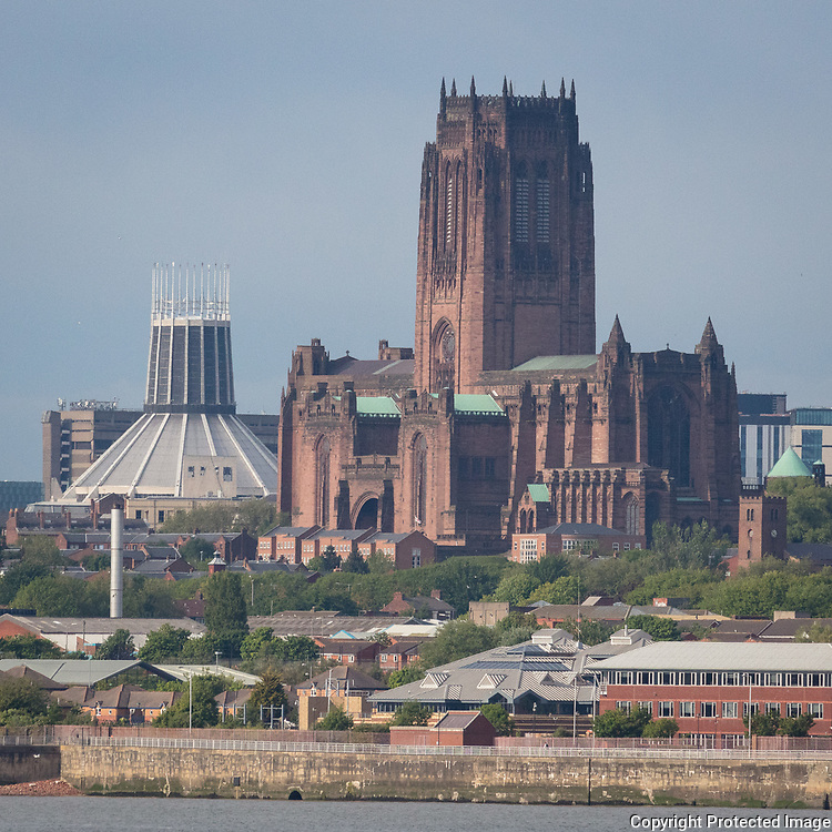 Liverpool Metropolitan Cathedral & Liverpool Anglican Cathedral from Bebington, Merseyside.