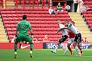 Charlton Athletic forward Nicky Ajose (10) surrounded by defenders during the EFL Sky Bet Championship match between Charlton Athletic and Bolton Wanderers at The Valley, London, England on 27 August 2016. Photo by Matthew Redman.