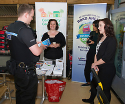 Pictured: PC Brian McGuff meets part of the ROSPA team at Dobbies.<br /> <br /> Destination Drive launch. The initiative aims to help older drivers stay safe on the road. Open invitation to first drop-in session where you can get a free assessment drive and try the current theory and hazard perception tests. <br /> <br /> Ger Harley | EEm 12 June 2018