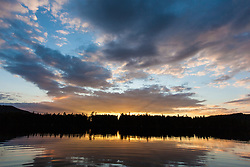 Lang Pond at sunset in Maine's Northern Forest. Cold Stream watershed, Parlin Pond Township.