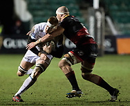 Glasgow Warriors' Rob Harley is tackled by Dragons' Rynard Landman<br /> <br /> Photographer Simon King/Replay Images<br /> <br /> Guinness PRO14 Round 14 - Dragons v Glasgow Warriors - Friday 9th February 2018 - Rodney Parade - Newport<br /> <br /> World Copyright © Replay Images . All rights reserved. info@replayimages.co.uk - http://replayimages.co.uk