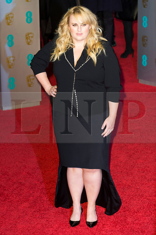 © Licensed to London News Pictures. 14/02/2016. London, UK. REBEL WILSON arrives on the red carpet at the EE British Academy Film Awards 2016 Photo credit: Ray Tang/LNP