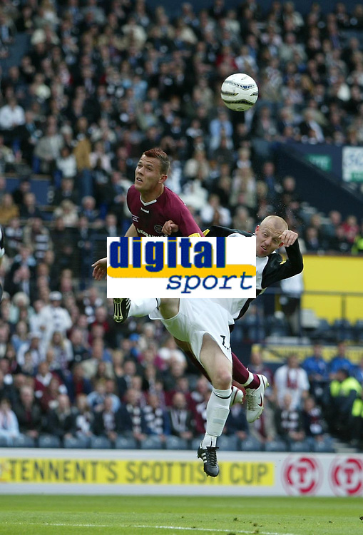 Photo: Andrew Unwin.<br /> Hearts v Gretna. Tennants Scottish Cup Final. 13/05/2006.<br /> Hearts' Roman Bednar (L) competes with Gretna's Gavin Skelton (R).