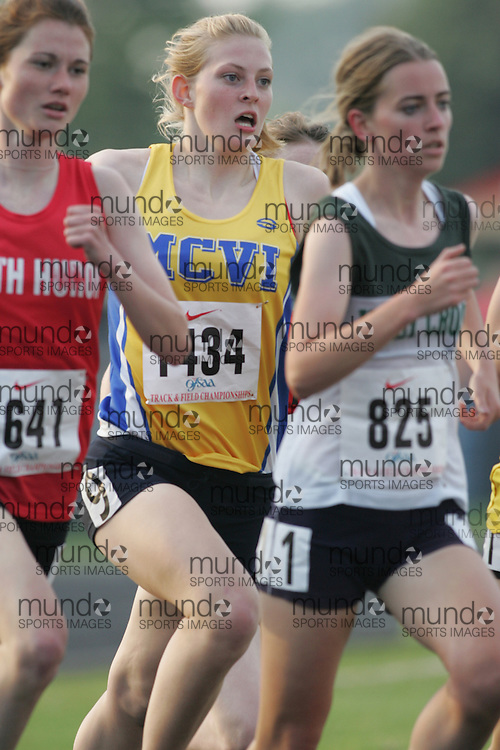 Hamilton, Ontario ---05/06/08--- Victoria Hanna of R.S. McLaughlin in Oshawa competes in the 1500m at the 2008 OFSAA Track and Field meet in Hamilton, Ontario..Sean Burges
