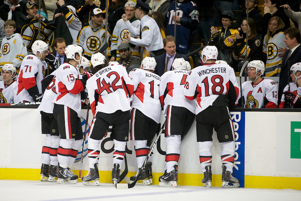 The game between the Ottawa Senators and the Boston Bruins at the TD Bank Garden on January 11, 2011 in Boston, Massachusetts.