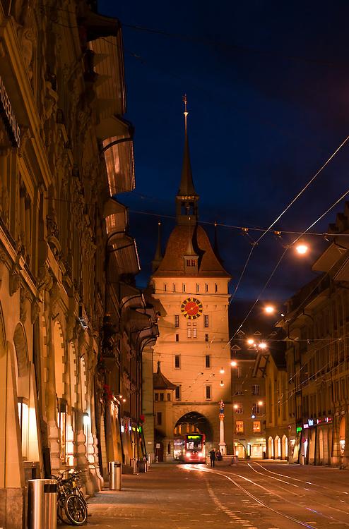 Marktgasse (street) with the Prison Tower (Kafigturm) in background, Bern, Canton Bern, Switzerland