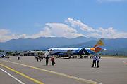 Passengers boarding a Trade Air Airbus A320-200 at Batumi international airport