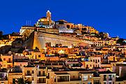Ibiza Town and the cathedral of Santa Maria d'Eivissa at night, Ibiza, Balearic Islands, Spain.