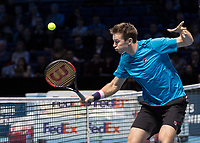 Tennis - 2017 Nitto ATP Finals at The O2 - Day Eight<br /> <br /> Mens Doubles: Final : Henri Kontinen (Finland) & John Peers (Australia) Vs Lukasz Kubot (Poland) & Marcelo Melo (Brazil) <br /> <br /> John Peers (Australia) with a blocked return at the O2 Arena<br /> <br /> COLORSPORT/DANIEL BEARHAM