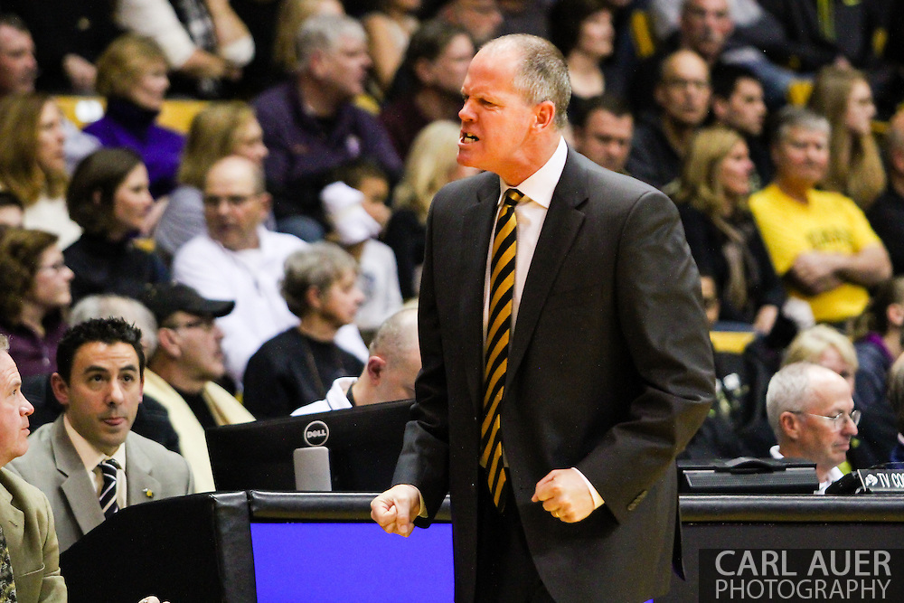 February 9th, 2014:  Colorado Buffaloes head coach Tad Boyle is upset over a call during the second half of the NCAA Basketball game between the Washington Huskies and the University of Colorado Buffaloes at the Coors Events Center in Boulder, Colorado