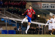 Bonnyrigg White Eagles forward Shervin Adeli (10) kicks the ball at the FFA Cup Round 16 soccer match between Bonnyrigg White Eagles FC v Western Sydney Wanderers FC at Marconi Stadium in Sydney.