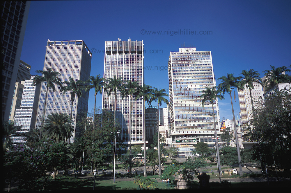 copyright: Nigel Hillier.Brazil,Sao Paolo, Anhangabau. financial district. skyscrapers,with trees and park area.