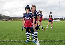 Clara Nielson of Bristol Bears Women poses with a young mascot - Mandatory by-line: Paul Knight/JMP - 19/01/2019 - RUGBY - Shaftesbury Park - Bristol, England - Bristol Bears Women v Worcester Valkyries - Tyrrells Premier 15s