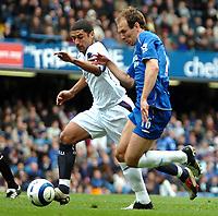 Photo: Ed Godden.<br />Chelsea v West Ham United. The Barclays Premiership. 09/04/2006. Arjen Robben (R) surges forward for Chelsea.