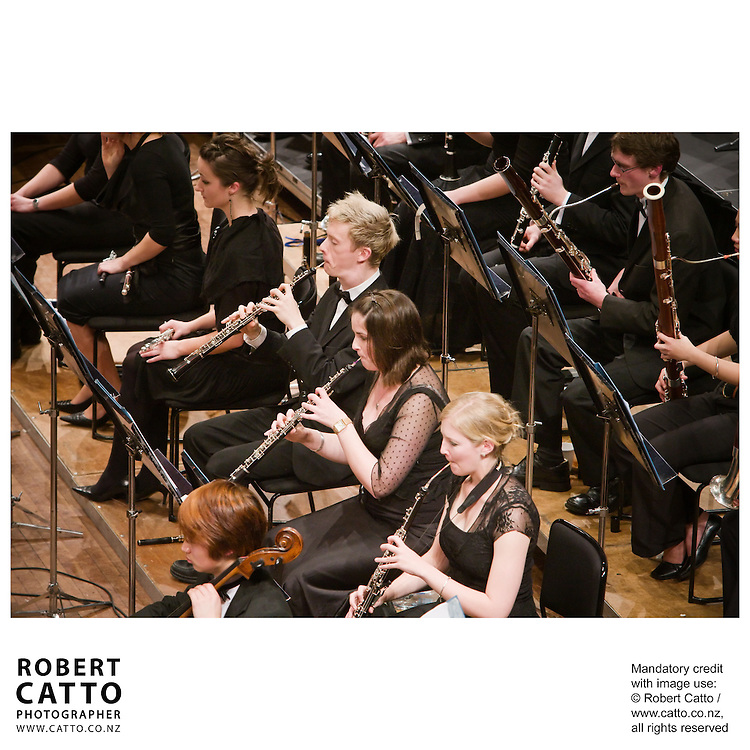 The New Zealand National Youth Orchestra perform a concert with soloist Madeleine Pierard and conductor Jacques Lacombe, at the Michael Fowler Centre in Wellington...Programme: .RAVEL Alborada del Gracioso.ROUSSEL Bacchus et Ariane Suite No 2.CANTELOUBE Chants D?Auvergne.TABEA SQUIRE Feverdream (World Premiere).STRAVINSKY The Firebird Suite (1945)