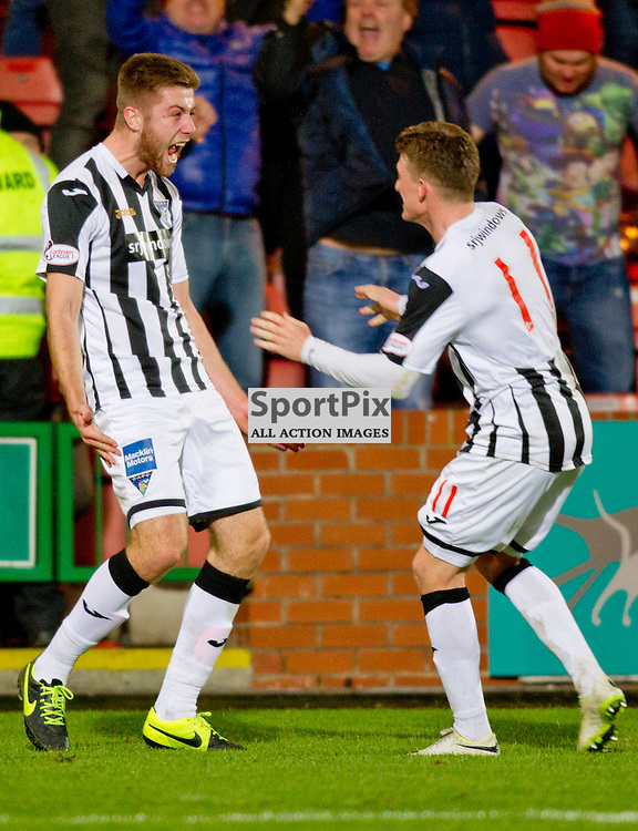 Dunfermline Athletic v Stenhousemuir SPFL League One Season 2015/16 East End Park 19 December 2015<br /> Shaun Rooney celebrates with David Hopkirk<br /> CRAIG BROWN | sportPix.org.uk