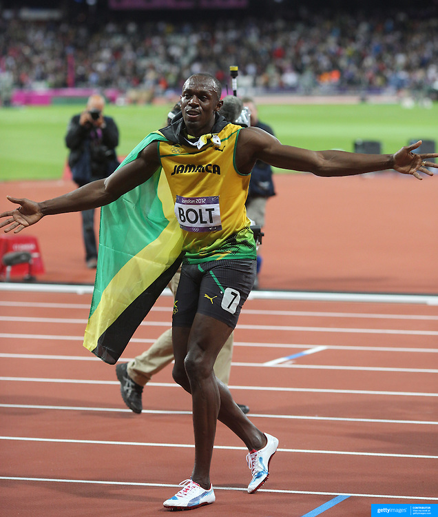 Usain Bolt, Jamaica, Winning the Men's 100m Final at the Olympic Stadium, Olympic Park, Stratford at the London 2012 Olympic games. London, UK. 5th August 2012. Photo Tim Clayton