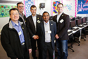 From left to right, KLA-Tencor Director of Marketing Ming Li, Optics Manager Bret Whiteside, Vice President Oreste Donzella, Senior Director of Engineering Jijen Vazhaeparambil, and HR Business Partner Josh Kruse pose for a portrait during the KLA-Tencor Computer Lab opening ceremony at Zanker Elementary School in Milpitas, California, on February 27, 2013. (Stan Olszewski/SOSKIphoto)